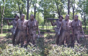 Stereogram of Statue at the Vietnam War Memorial, Washington, DC