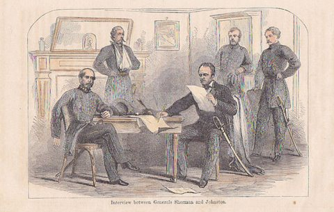 Johnston and Sherman meet to discuss the terms of Johnston's surrender.
