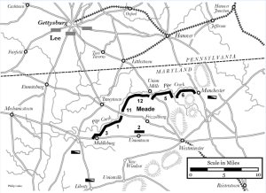 The Pipe Creek Line as designed by the Army of the Potomac's engineers